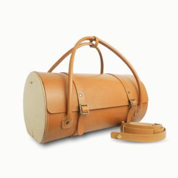 Le Pause Weekend, sac de voyage, en cuir naturel et bois, miel, Damien Béal