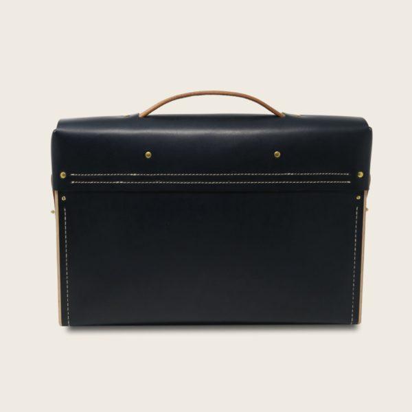 Porte documents, cartable, sacoche en cuir naturel à tannage végétal et bois, bleu marine et marron whisky, Le Quotidien