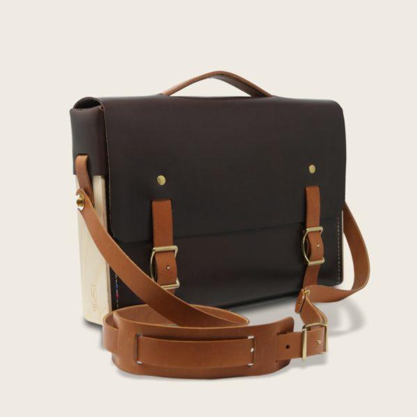 Porte documents, cartable, sacoche en cuir naturel à tannage végétal et bois, marron chocolat et whisky, Le Quotidien