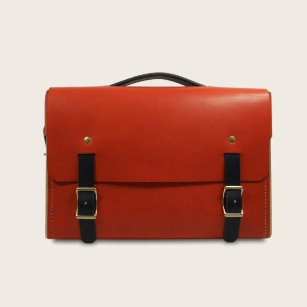 Porte documents, cartable, sacoche en cuir naturel à tannage végétal et bois, orange et marron chocolat, Le Quotidien