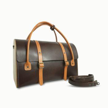 Le Pause Weekend 2.0, sac de voyage, en cuir naturel et bois, chocolat et miel, Damien Béal