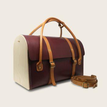 Sac de voyage, malle, en cuir naturel à tannage végétal et bois, prune et miel, Le Pause Weekend 2.0