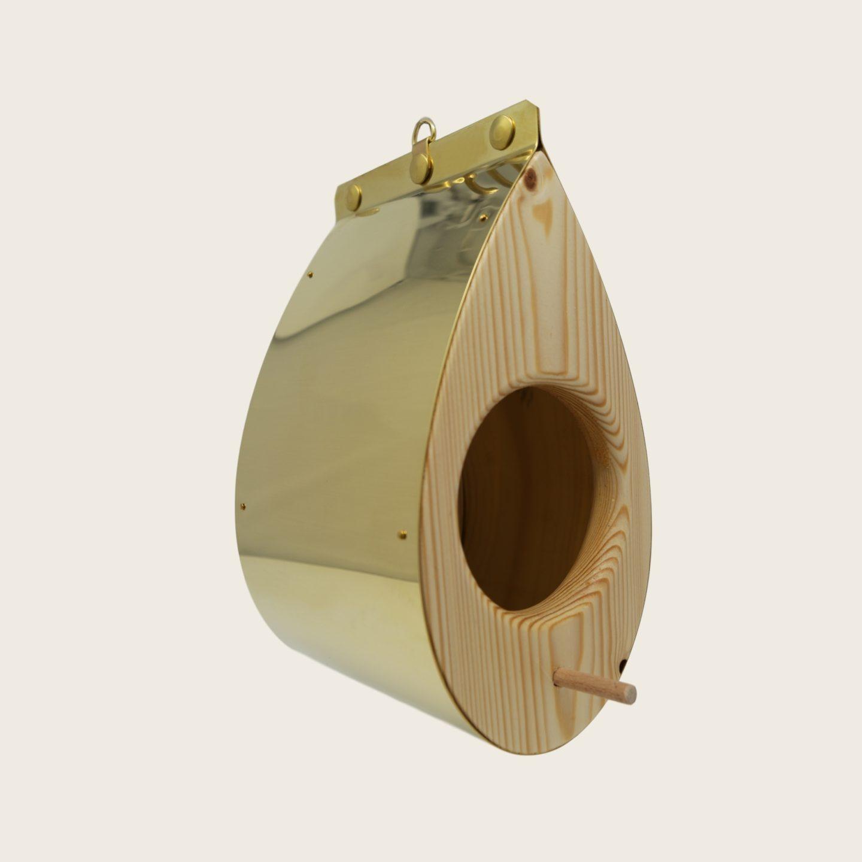 Mangeoire à oiseaux moderne en bois et laiton - La Mangeoire