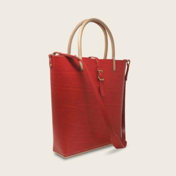 Cabas, sac à main en cuir naturel à tannage végétal et bois, rouge, Le Myro