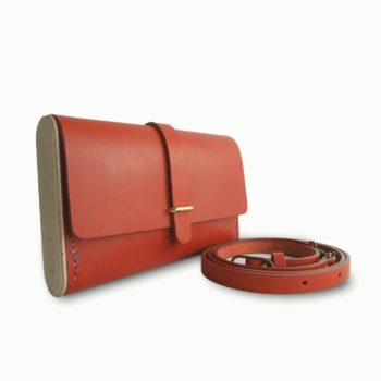 Le Strict Minimum, pochette, sac à main, en cuir naturel et bois, orange, Damien Béal