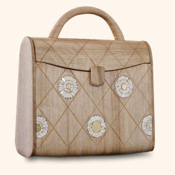 La Ninetta Bois, sac en bois incrusté de mosaïque, Erica Stefani et Damien Béal