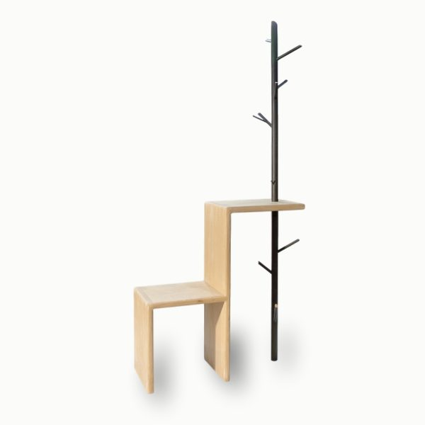 Le Vestiaire, chaise porte-manteau, meuble d'entrée moderne, en bois et métal, Damien Béal