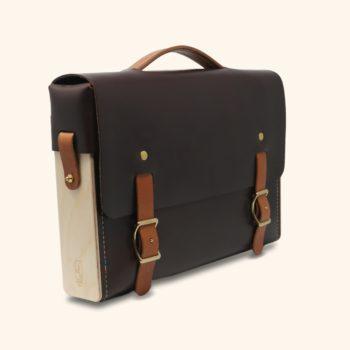 Le Quotidien, sacoche cartable bandoulière, unisexe, mixte, en cuir naturel et bois, chocolat et whisky Damien Béal