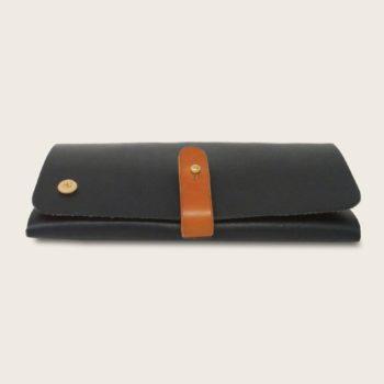 Portefeuille, porte-monnaie, XL, grand format, en cuir naturel à tannage végétal et bois, bleu marine et whisky