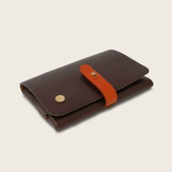 Portefeuille, porte-monnaie, XS, petit format, en cuir naturel à tannage végétal et bois, marron chocolat et orange