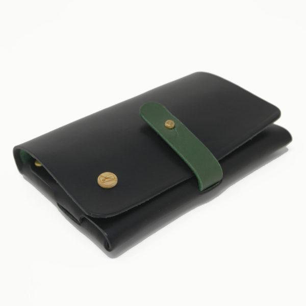 Le Portefeuille, porte-monnaie, XS, petit format, noir et vert Damien Béal