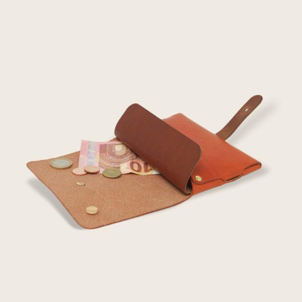 Portefeuille, porte-monnaie, XS, petit format, en cuir naturel à tannage végétal et bois, orange et marron papaya