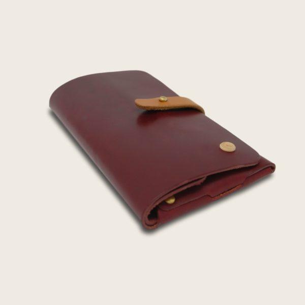 Portefeuille, porte-monnaie, XL, grand format, en cuir naturel à tannage végétal et bois, prune et marron miel