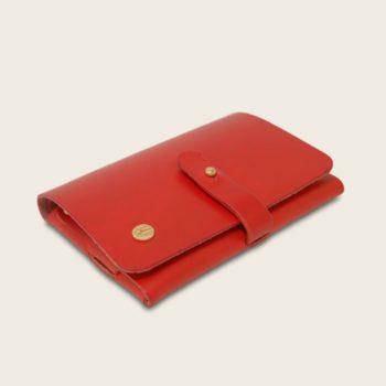 Portefeuille, porte-monnaie, XS, petit format, en cuir naturel à tannage végétal et bois, rouge
