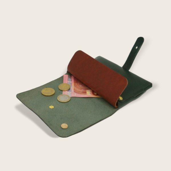 Portefeuille, porte-monnaie, XS, petit format, en cuir naturel à tannage végétal et bois, vert et papaya