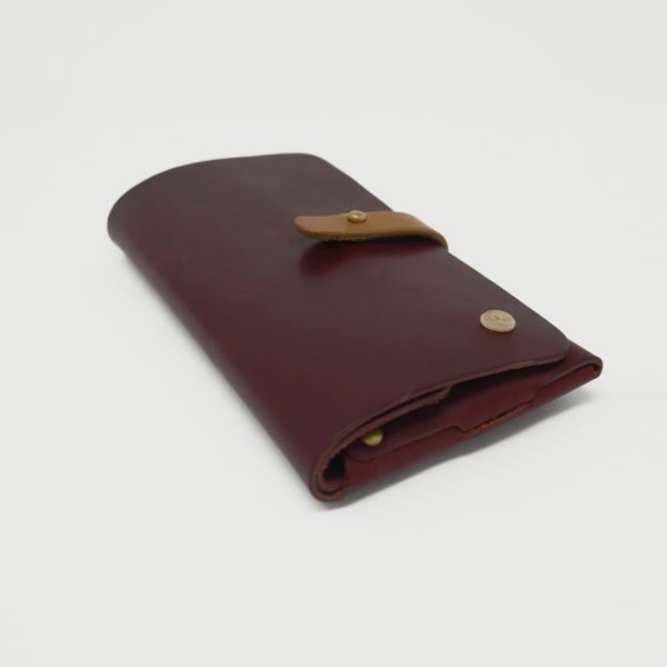 Le Portefeuille, porte-monnaie, XL, grand format, en cuir naturel, prune et marron miel Damien Béal