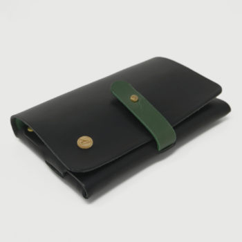 Le Portefeuille, porte-monnaie, XS, petit format, en cuir naturel, noir et vert Damien Béal