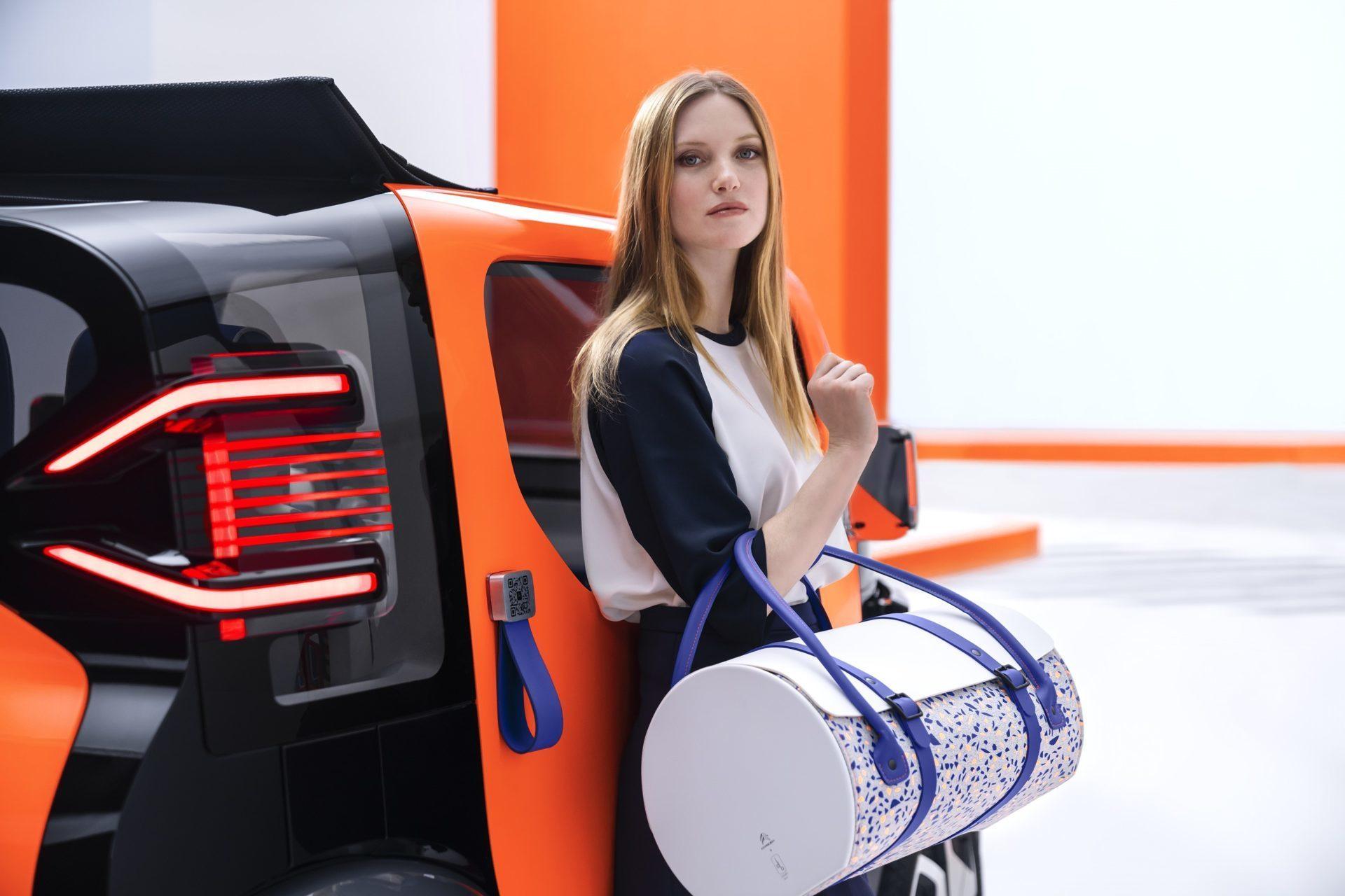 Sac de voyage en et bois, collaboration Citroën pour Ami One Concept