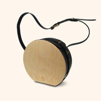 Le Myro, sac à main tendance rond, en cuir naturel et bois, bleu marine, Damien Béal
