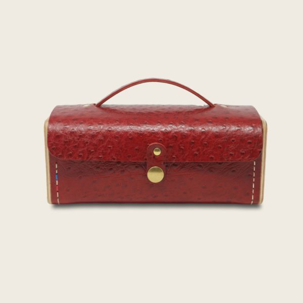 Petit sac à main bandoulière en cuir naturel à tannage végétal et bois, rouge imprimé autruche, Le Minimum +