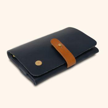 Le Portefeuille, porte-monnaie, XS, petit format, en cuir naturel, bleu marine et marron whisky Damien Béal