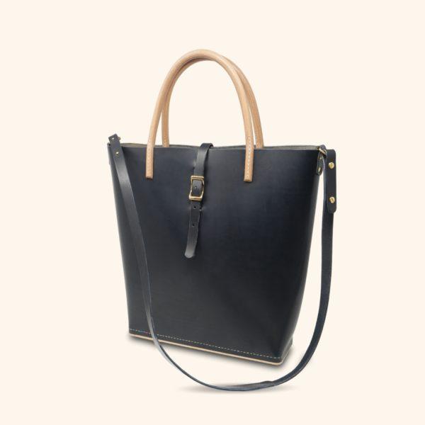 Le Myro, cabas, sac à main féminin, en cuir naturel et bois, bleu marine et miel, Damien Béal