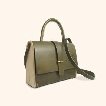 La Ninetta, sac à main féminin, en cuir naturel et bois, vert, Damien Béal