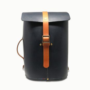 Le No Wood, sac à dos urbain, en cuir naturel, bleu marine et whisky, Damien Béal