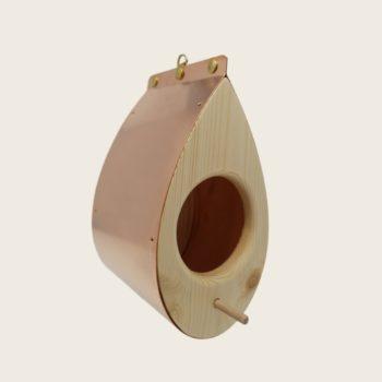 Mangeoire à oiseaux moderne en bois et cuivre - La Mangeoire