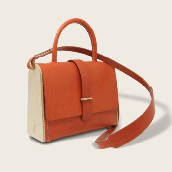 Sac à main féminin en cuir naturel à tannage végétal et bois, orange, La Ninetta