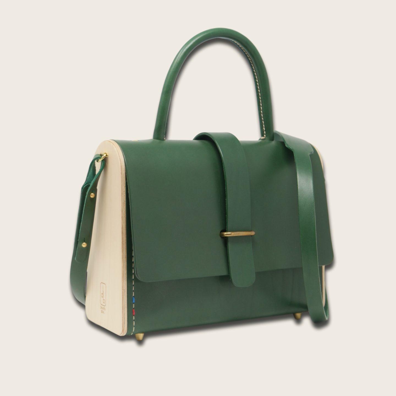 Sac à main féminin en cuir naturel à tannage végétal et bois, vert, La Ninetta