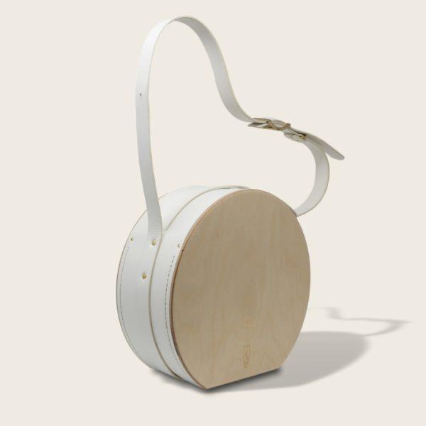 Sac à main tendance rond, en cuir naturel à tannage végétal et bois, blanc, Le Myro