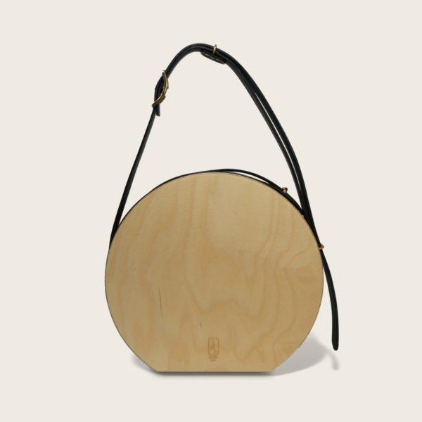 Sac à main tendance rond, en cuir naturel à tannage végétal et bois, bleu marine, Le Myro