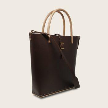 Cabas, sac à main en cuir naturel à tannage végétal et bois, marron chocolat, Le Myro