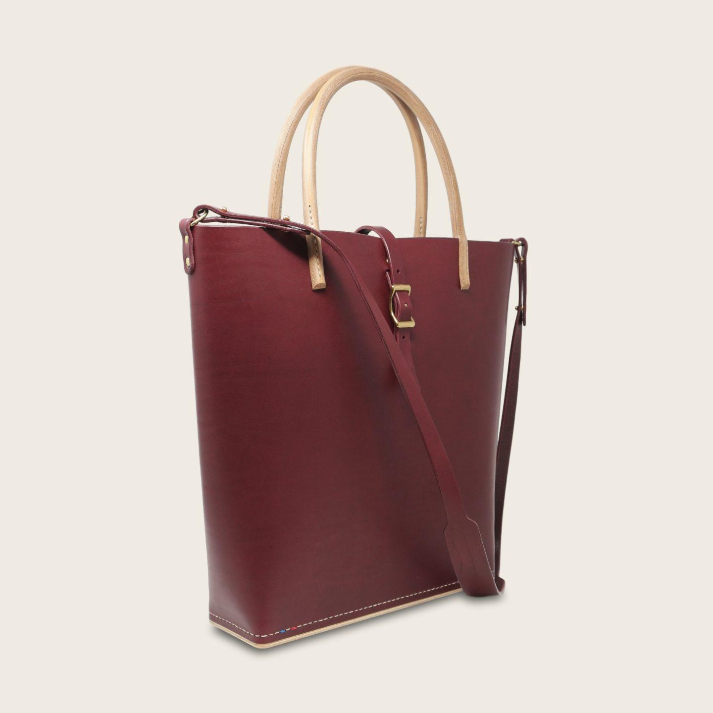Cabas, sac à main en cuir naturel à tannage végétal et bois, prune, Le Myro