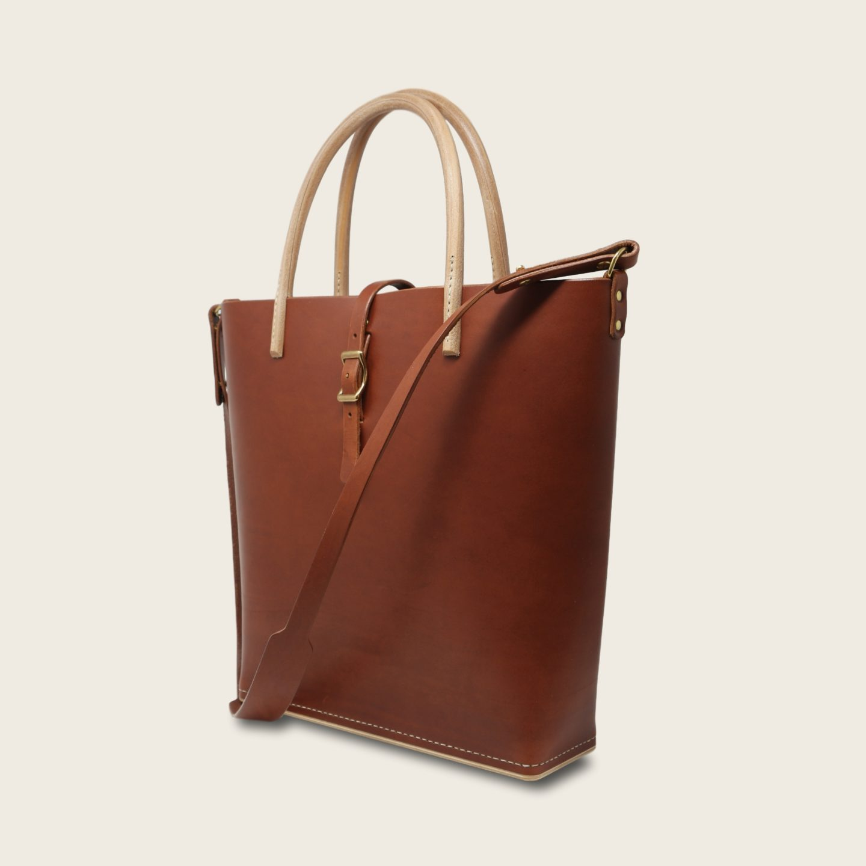 Cabas, sac à main en cuir naturel à tannage végétal et bois, marron papaya, Le Myro