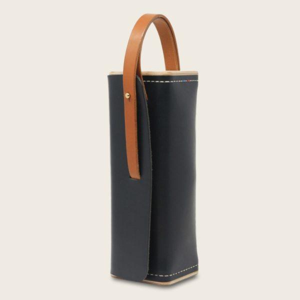 Etui à boules de pétanque en cuir naturel à tannage végétal et bois, bleu marine et marron whisky, Le Bouliste