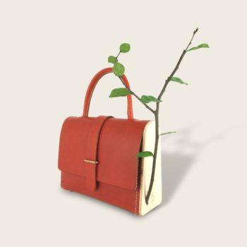 Sac à main en cuir végétal, bois et branche naturelle - La Frondaison