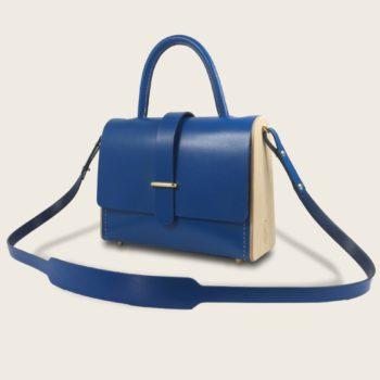 Sac à main féminin en cuir naturel à tannage végétal et bois, bleu électrique, La Ninetta