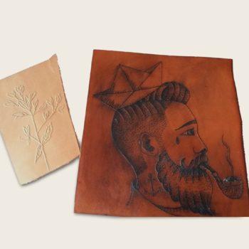 Essais pour sac tatoué, cuir naturel végétal, collaboration L'Artisan Tatoueur et Damien Béal