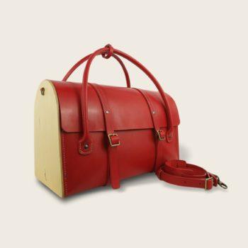 Sac de voyage, malle, en cuir naturel à tannage végétal et bois, rouge, Le Pause Weekend 2.0