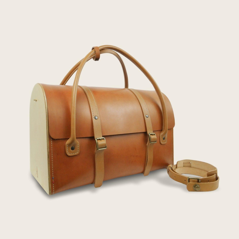 Sac de voyage, malle, en cuir naturel à tannage végétal et bois, marron whisky et miel, Le Pause Weekend 2.0