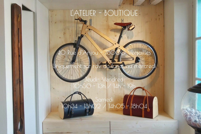Atelier boutique quartier Saint Louis, Versailles, vélo bois et maroquinerie en bois et cuir