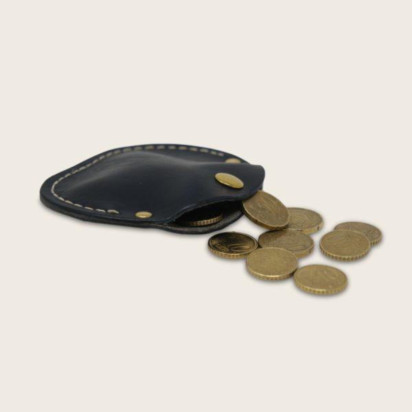 Porte-monnaie, bourse, en cuir naturel à tannage végétal, bleu marine, le Haricot