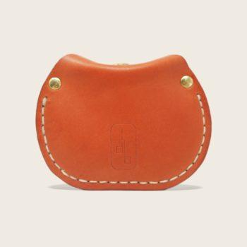 Porte-monnaie, bourse, en cuir naturel à tannage végétal, orange, le Haricot