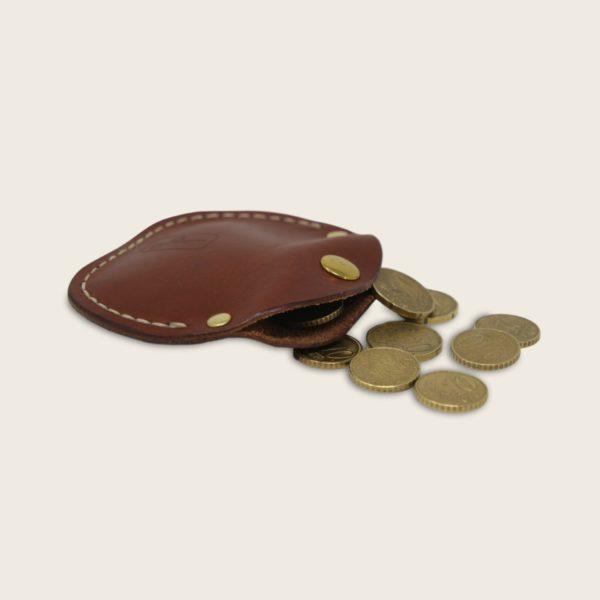 Porte-monnaie, bourse, en cuir naturel à tannage végétal, marron papaya, le Haricot