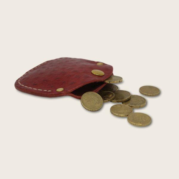 Porte-monnaie, bourse, en cuir naturel à tannage végétal, rouge autruche, le Haricot