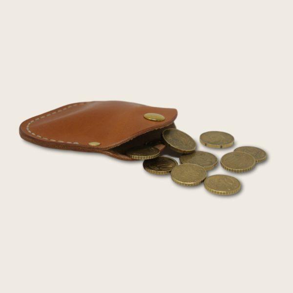 Porte-monnaie, bourse, en cuir naturel à tannage végétal, marron whisky, le Haricot