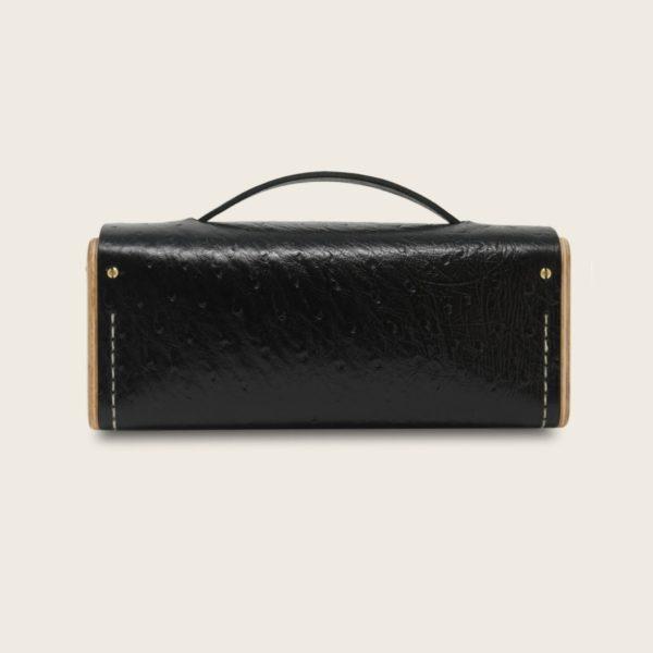 Petit sac bandoulière en cuir naturel à tannage végétal et bois, noir autruche, Le Minimum +