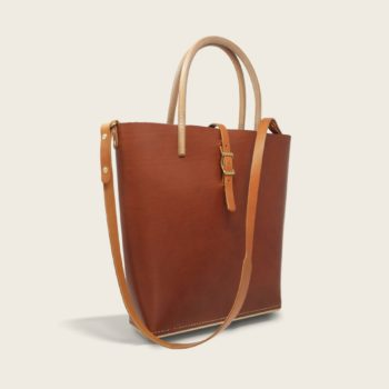 Cabas, sac à main en cuir naturel à tannage végétal et bois, marron whisky, Le Myro